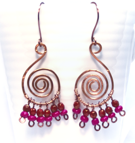 Magenta & Swirls Earrings