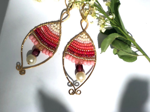 Coral, Pink & White Beaded Wire Art Earrings
