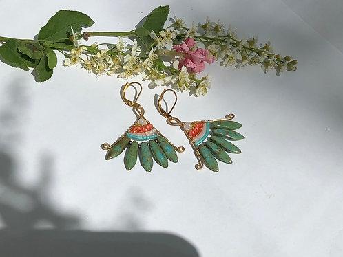 Blue Green & Orange Small Fan Earrings