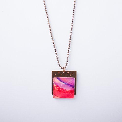 Pink & Purple Horizon Square Pendant