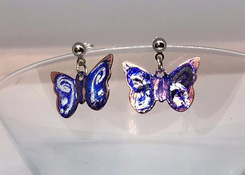 Purple Painted Butterfly Earrings