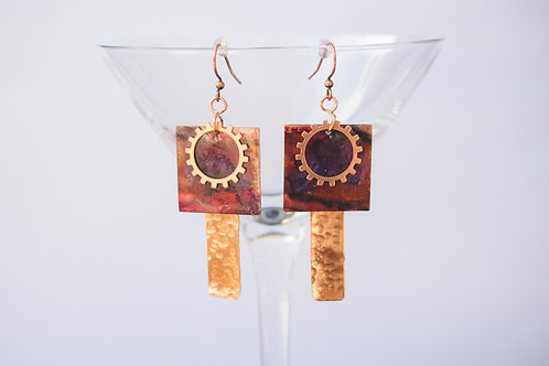 Painted Circle & Rectangle Earrings with Brass, Copper, Green