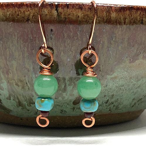 Jade & Czech Glass Beaded Earrings