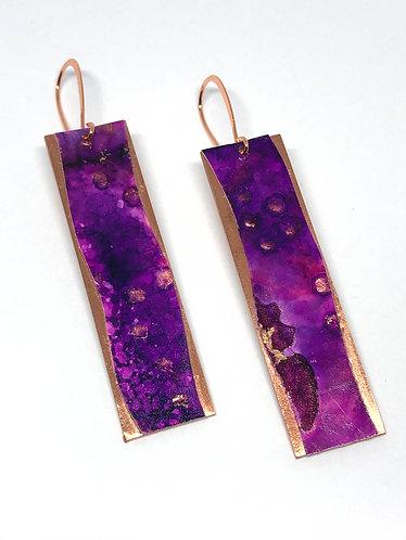 Purple & Magenta Hand Painted Earrings