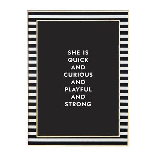 "Kate Spade -Everdone Lane Photo Frame - Black & White - Thin Stripe - 5x7"""