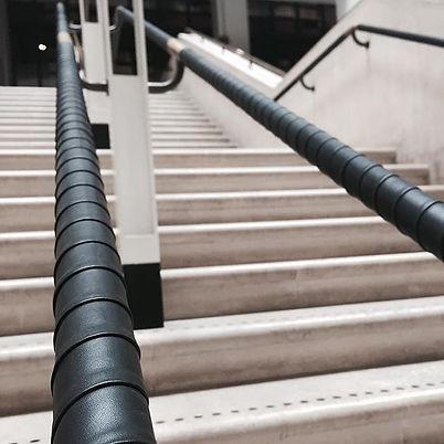 Harcourt London refitting Overlapped leather handrails _britishlibrary #leathercraft #leat