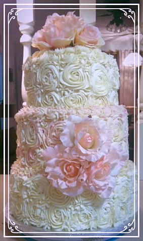 Rose Swirl Wedding Cake