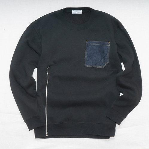 Denim pocket sweat shirts with zipper!!!
