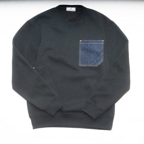 Sweat Shirts with Denim Pocket
