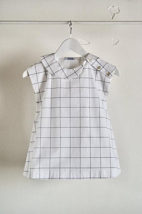 <Flourish>Kids White block-check Dress