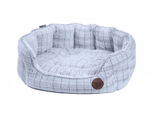 White Plush Oval Pet Bed