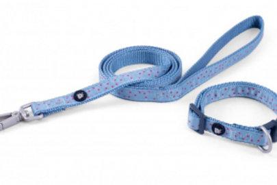 Little Petface - Collar/Lead Set Powder Blue Ditsy