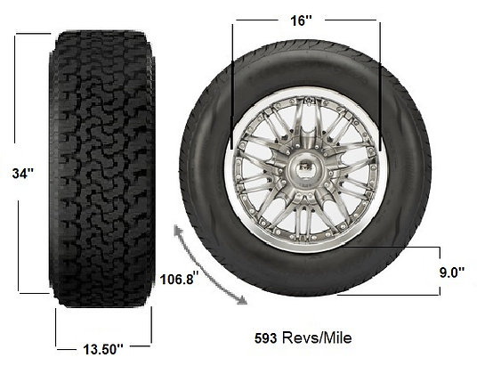 34X13.5R16, Used Tires