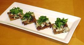Mushroom, arugula and fontina grilled flatbread