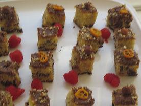 Chocolate hazelnut cake petit fours with candied kumquats