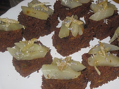 Ginger cake and marsala poached pears