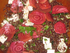 Red quinoa, feta, and chiogga beet salad