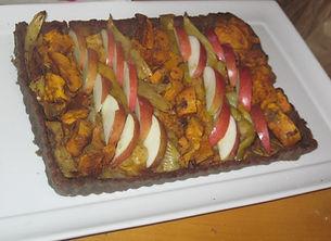 Fall vegetable and apple tart with hazelnut crust