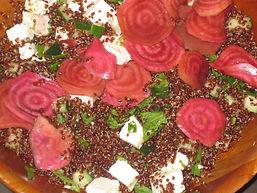 Quinoa, feta, and chiogga beet salad