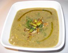 Sunchoke soup with crispy leeks and truffle oil