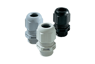 Cable glands and grommets. They vary from plastic, to brass, and stainless steel or ss.