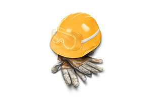 Personal protection equipment, gloves, helmet, and glasses for electrical installation.