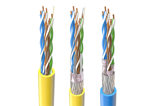 Network and communication cables of CAT5, CAT6, and CAT7 categories. Cables are named based on the properties as F for foiled, as U for unshielded, as S for shielded. Those cables are U/UTP, SF/UTP, and S/FTP. Those cables are commonly used for data transmission.