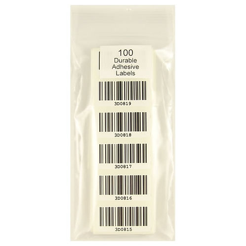 Pack of 100 Durable Adhesive Bar Code Labels in Clear Bag