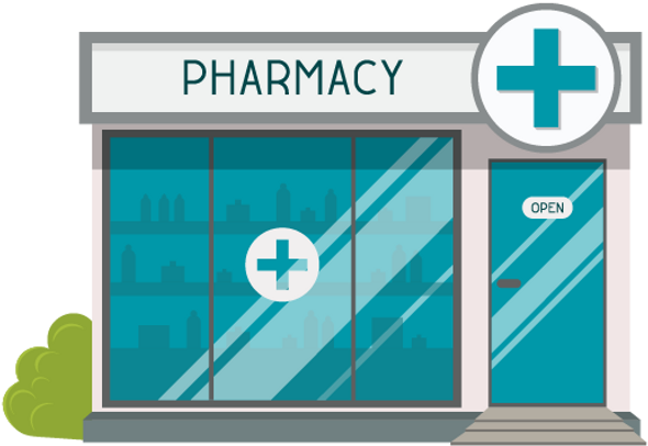 Illustration of a pharmacy with and a lamppost featuring the ScriptAbility Logo