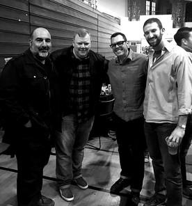 Johnathan Foregash with the men that made Hometown BBQ, Franklin BBQ & Katz Deli