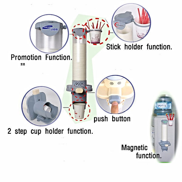 One touch/Push button cup dispensor