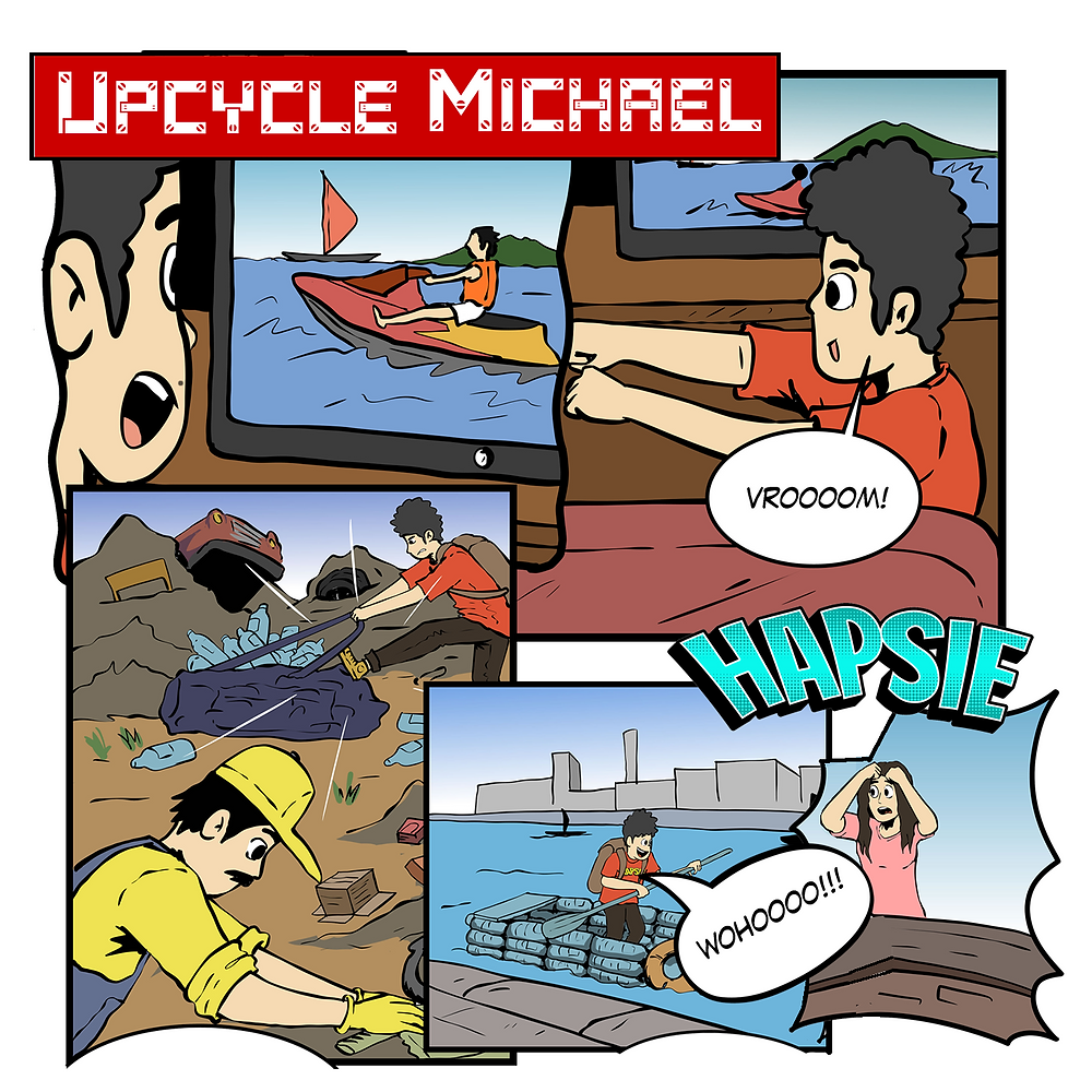 Extract from the comic script Upcycle Michael