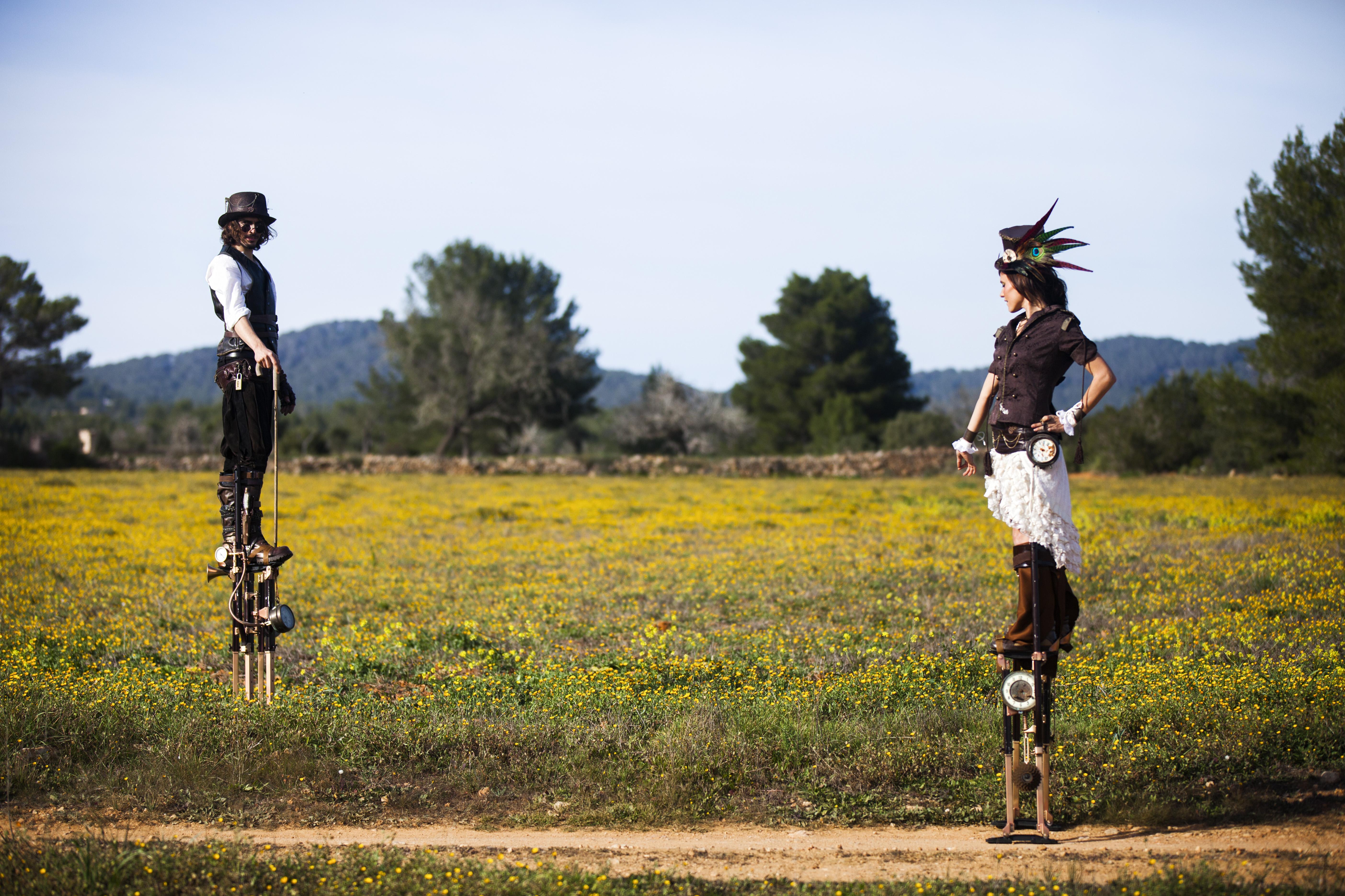 Steampunk stilt walkers