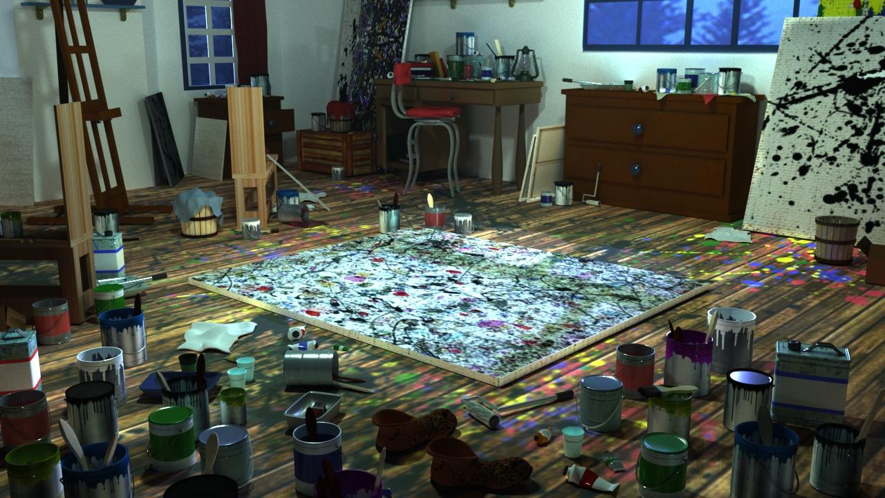 The studio of Jackson Pollock