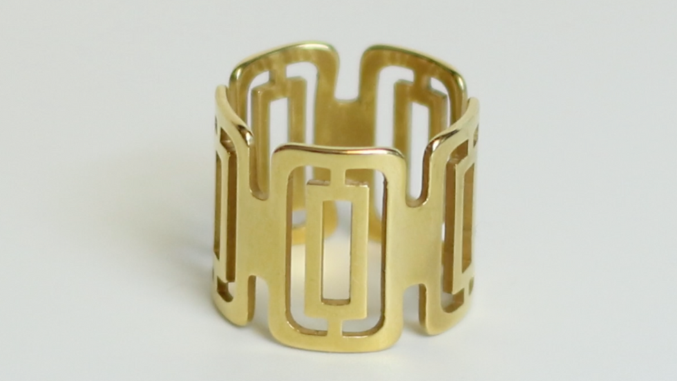Adjustable Rectangular Ring 24K Gold Plated