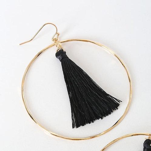 Black Boho Tassel Earrings