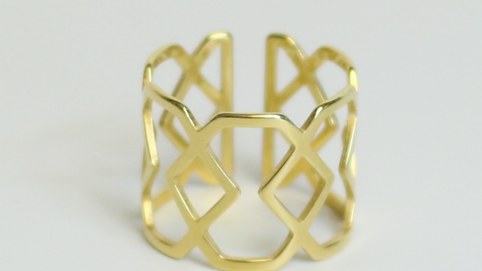 Hexagonal Hourglass Adjustable 24K Gold Plated Ring