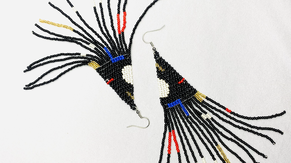 Art-Deco Abstract Beaded Earrings