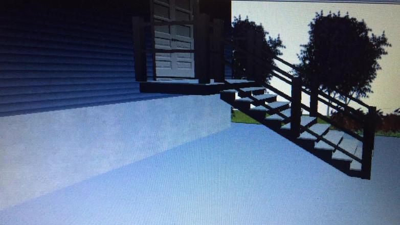Veranda stair railing design