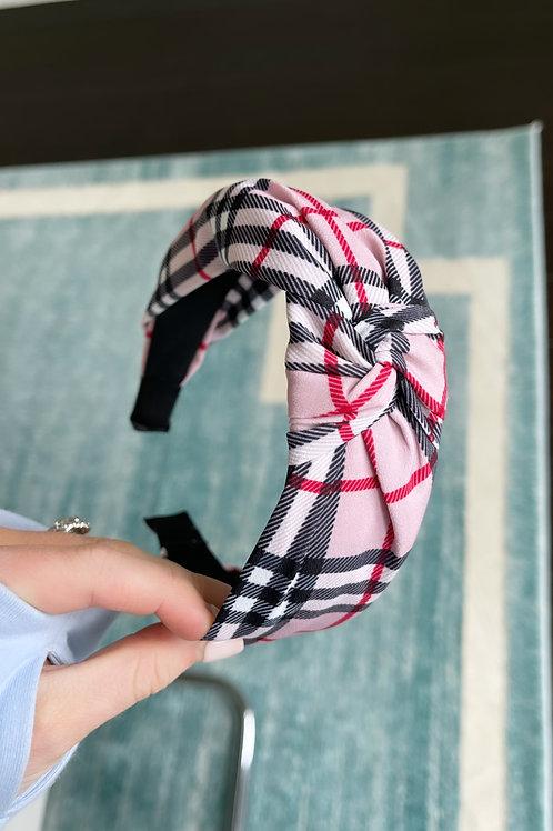 Pink English Plaid Headband