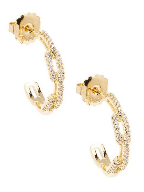 Pavé Crystal Link Hoop Earring Jewelry