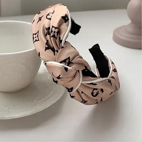 Satin Letter Printed Knot Headband