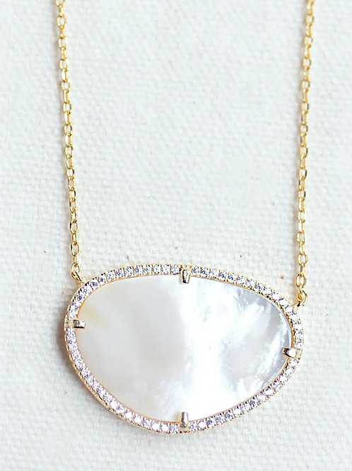 Mother of Pearl CZ Studded Necklace
