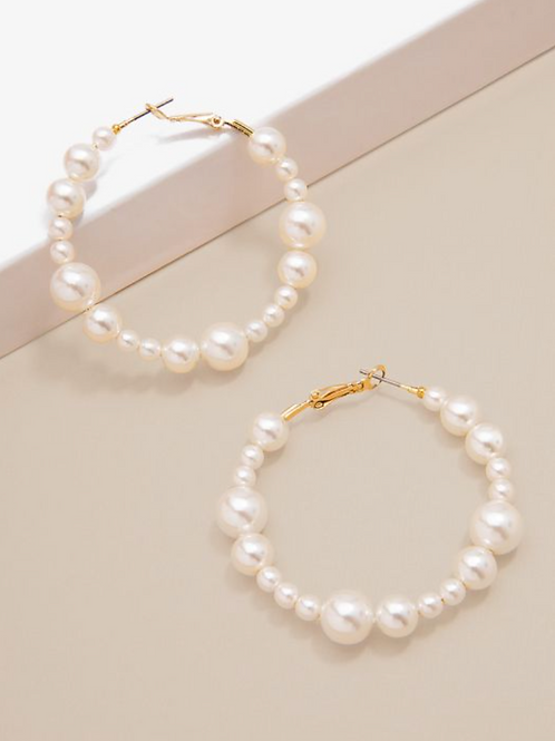 Beaded Pearl Hoops