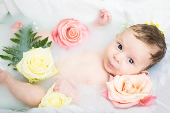 A big milk bath for a sweet little girl