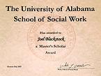 University of Alabama Social Work Program Master's Scholar Therapist Award