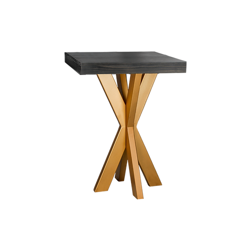 Ebony Starburst Cocktail Table-Brass Legs