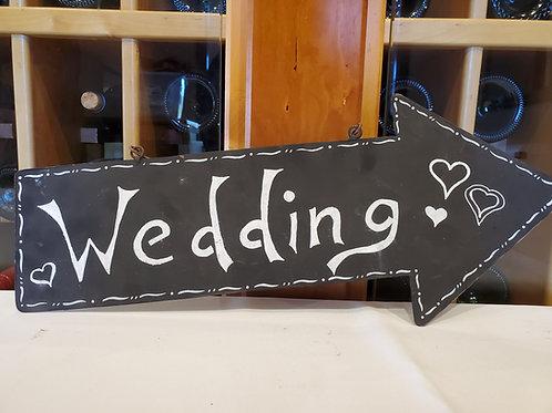 "Black Metal ""Wedding"" Arrow Sign"