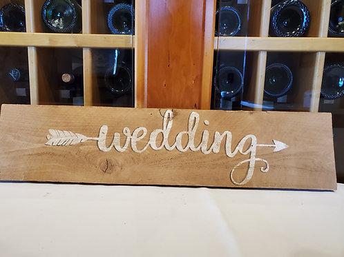 "Wooden ""Wedding"" Arrow Sign"