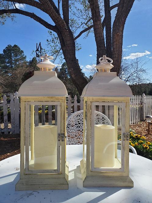 White Destressed Lanterns